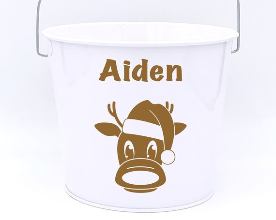 Personalized Reindeer Name Pail ~ Christmas Bucket ~ Choose The Colors
