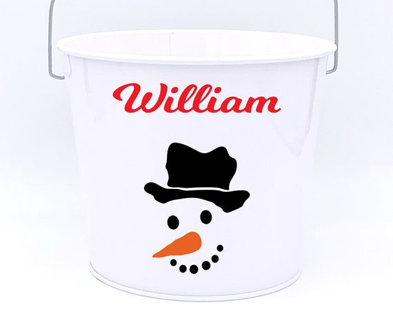 Personalized Snowman Name Pail ~ Christmas Bucket ~ Choose The Colors