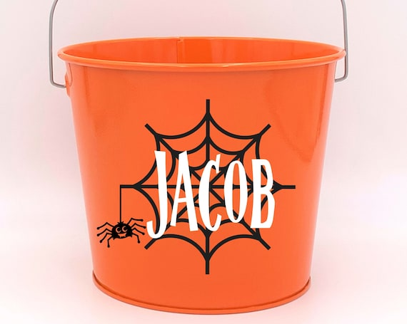Personalized Halloween Spider Web Name Pail ~ Trick or Treat