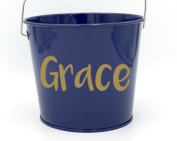 Personalized Metal Name Pail ~ Bucket ~ Basket