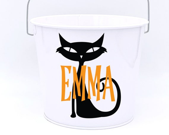 Personalized Halloween Black Cat Name Pail ~ Trick or Treat ~ Choose The Colors