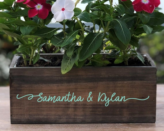 Personalized Wood Planter Box ~ Couples Names ~ Gift for Couple ~ Wedding ~ Anniversary ~ Wedding Centerpiece ~ Rustic Decor ~ Beach Decor
