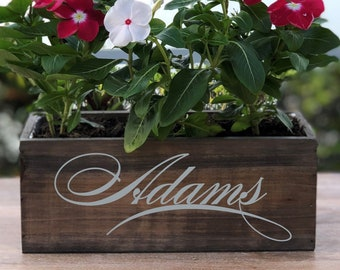Personalized Wood Planter Box ~ Family Name ~ Any Name ~ Wedding ~ Anniversary ~ Wedding Centerpiece ~ Rustic Decor ~ Home Decor ~ Gift
