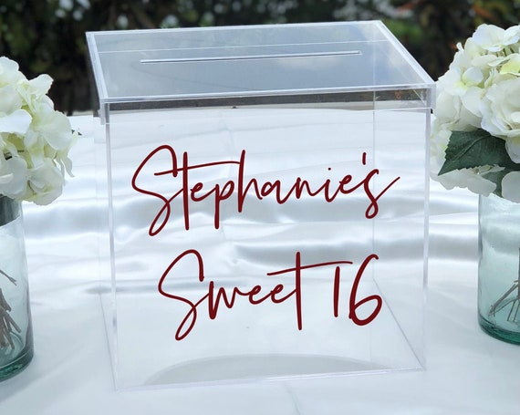 Personalized Sweet 16 Clear Acrylic Card Box ~ Locking Option