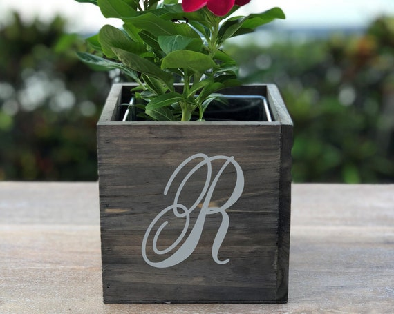 Personalized Initial Wood Planter Box ~ Letter ~ Monogram ~ Christmas Gift ~ Birthday ~ Housewarming ~ School Gift ~ Flower Box ~