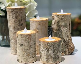 Birch Bark Log Candle Holders Centerpiece - Set of 5 - Tea Light - Rustic Chic - Wedding Centerpiece