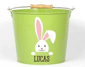 Personalized Big Ear Bunny Easter Pail - Choose The Color - Easter Basket Easter Bucket Easter Tin for Girls and Boys - SR1801901