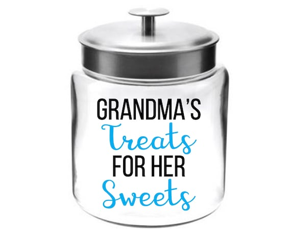 Grandma's Treats for her Sweets Cookie Jar ~ Lid with Seal ~ Made in USA