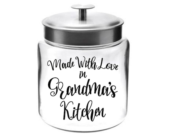 Made With Love Glass Cookie Jar ~ Choose the Word for Grandma or any Name ~ Seal ~ Made in the USA