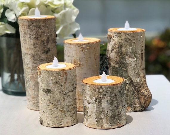 Birch Bark Log Candle Holders Centerpiece - Set of 5 - Votive Tea Light - Rustic Chic - Wedding Centerpiece