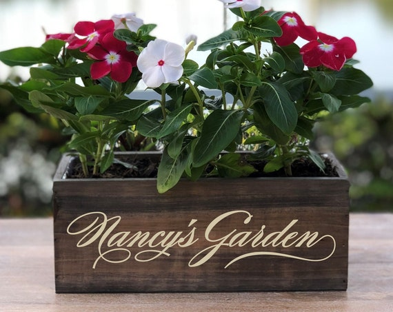Personalized Garden Wood Planter Box ~ Any Name ~ Gift ~ Flowers ~ Gardener Gift ~ Gardening ~ Planting  ~ Rustic Decor ~ Home Decor