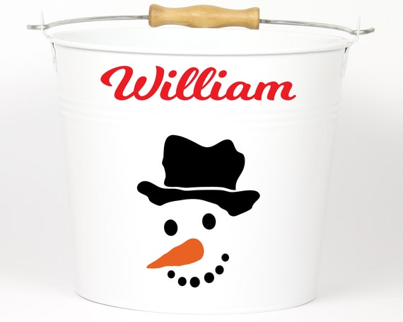 Personalized Snowman Name Pail ~ Christmas Bucket ~ Choose The Color ~ Metal Container Basket Bag for Girls Boys ~ Holiday Pail ~ Custom