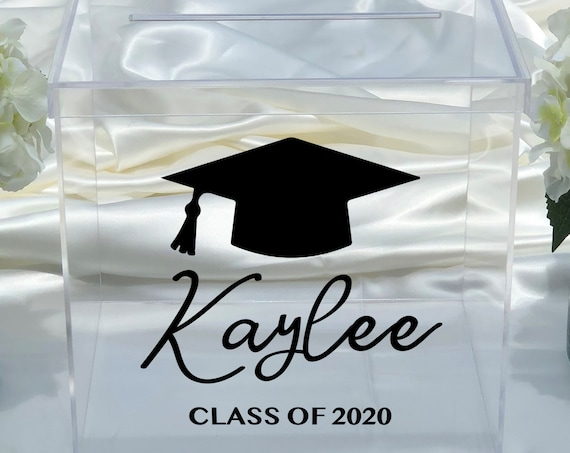 Personalized Graduation Card Box ~  Clear Acrylic ~ Class of 2020 ~ Class of 2021 ~ Large ~ XL ~ School Colors ~ Graduation Cap ~ Decor