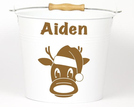 Personalized Reindeer Name Pail ~ Christmas Bucket ~ Choose The Color ~ Metal Container Basket Bag for Girls Boys ~ Holiday Pail ~ Custom