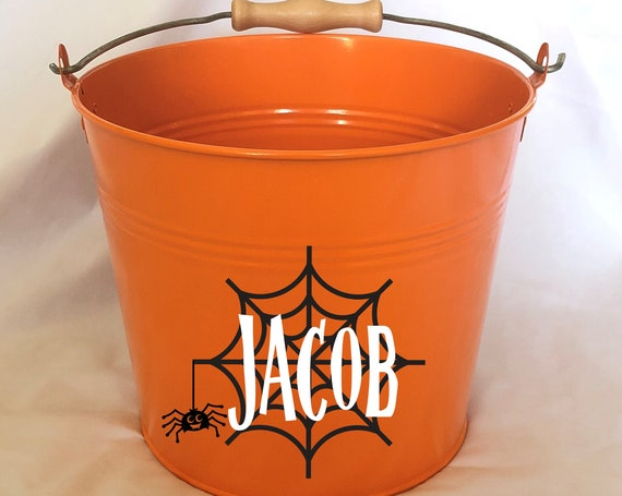 Personalized Halloween Spider Web Name Pail - Trick or Treat - Choose The Color - Metal Pail Bucket Basket Bag for Girls and Boys