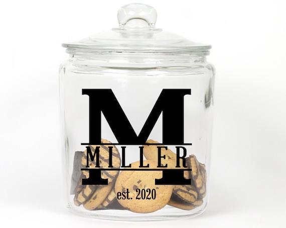 Personalized Last Name Cookie Jar ~ Monogram ~ Glass Cookie Jar