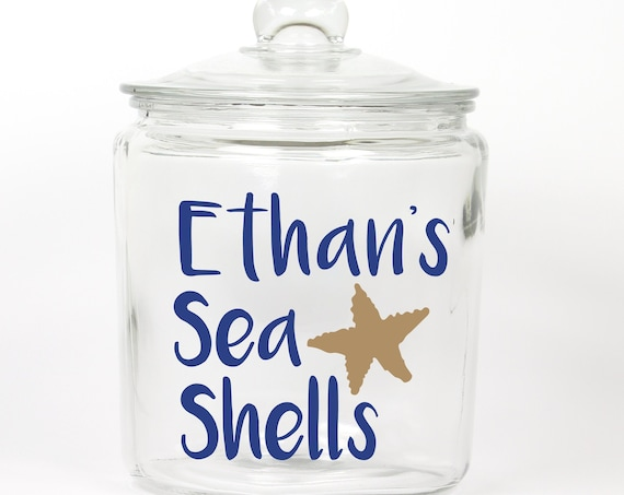 Seashells Jar ~ Personalized ~ Glass