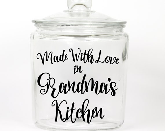 Made With Love Glass Cookie Jar ~ Choose the Word for Grandma or any Name ~