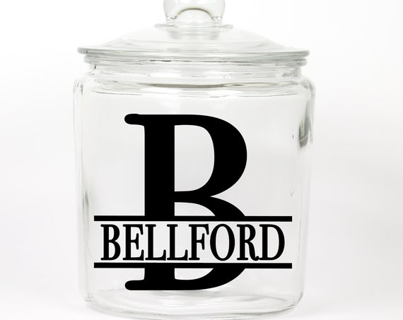 Personalized Last Name Cookie Jar ~ Monogram ~ Glass