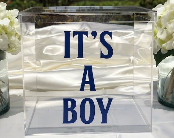It's a Boy Clear Acrylic Card Box ~ Choose The Color & Size ~ New Baby ~ Celebrate ~ Baby Shower ~ Baby Shower Decor ~ Baby Shower Card Box