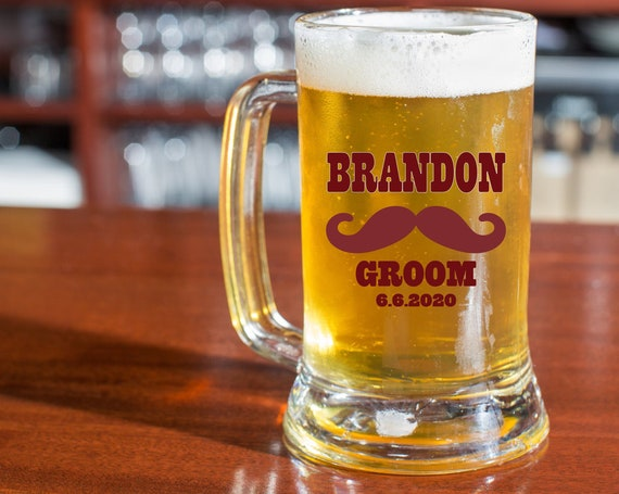 Personalized Beer Stein Glasses ~ Choose the Size  ~ Bachelor Party ~ Wedding Gift ~ Best Man Groomsmen Usher Father Glasses ~ 16 oz