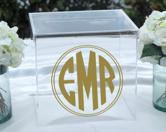 Personalized Monogram Clear Acrylic Card Box ~ Wedding ~ Engagement Party ~ Bridal Shower ~ Anniversary ~ Graduation ~ Birthday Party