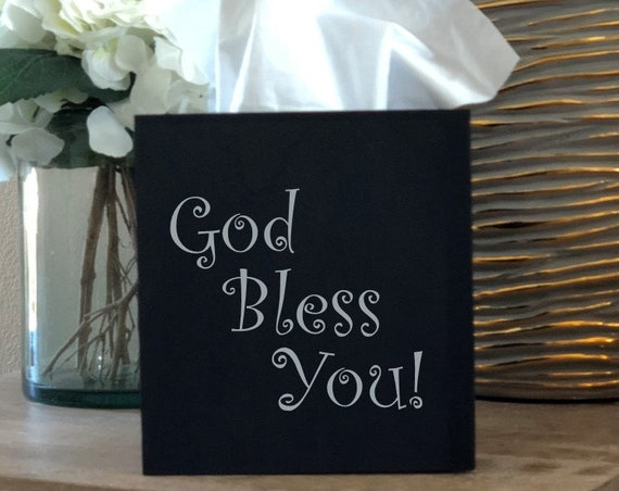 God Bless You Tissue Box Cover ~ Kleenex ~ Home Decor ~ Choose Your Colors ~ Black and Gold ~ Black and Silver ~ Gift for Boss Office