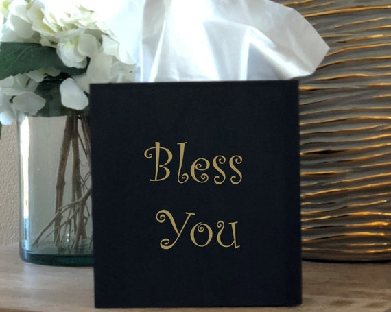 Bless You Tissue Box Cover ~ Kleenex ~ Home Decor ~ Choose Your Colors ~ Black and Gold ~ Black and Silver ~ Gift for Boss Office