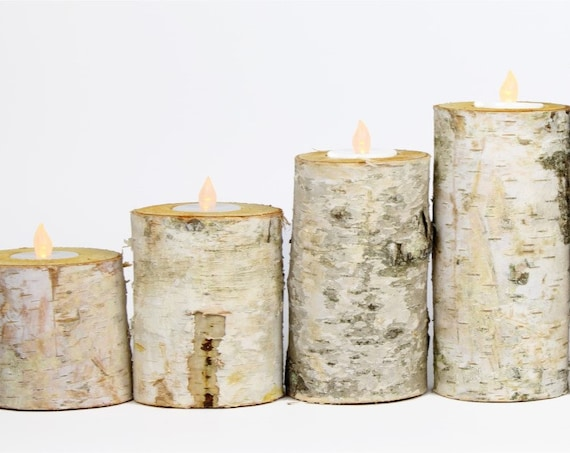24 Piece Birch Log Tea Light Candle Holders Centerpiece Set - Rustic Chic - Wedding Centerpieces