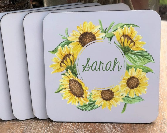 Personalized Sunflower Coasters Set ~ Cork Back ~ Color Coasters ~ Personalized Coasters ~ Personalized Gift ~ Christmas Gift ~ Office Gift