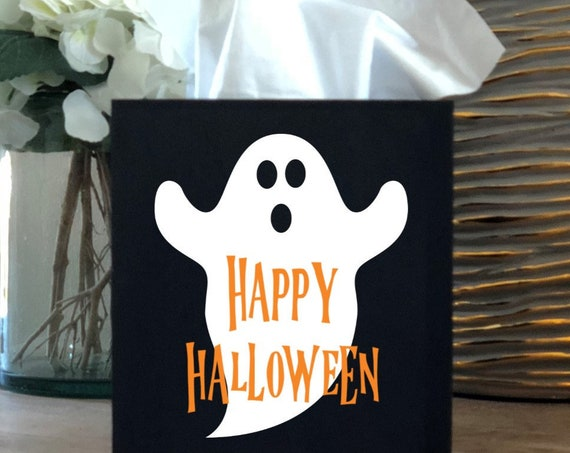Ghost Happy Halloween Tissue Box Cover