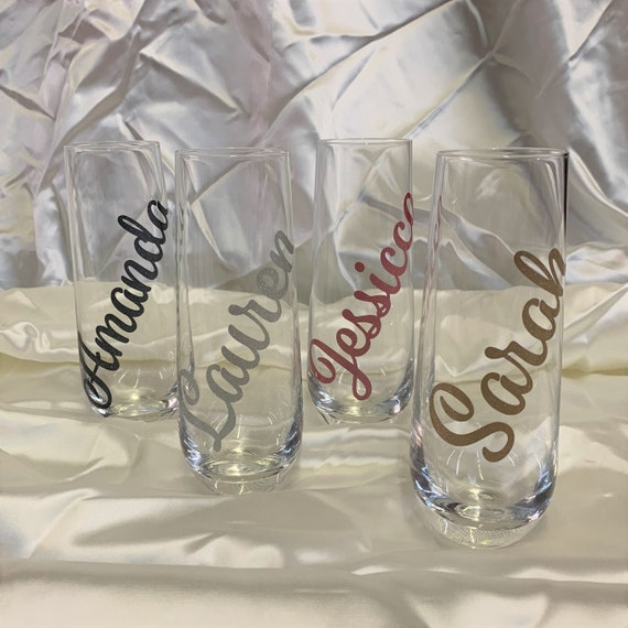 Personalized Glass Stemless Champagne Flutes