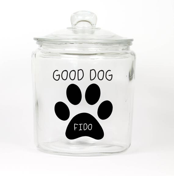 Personalized Good Dog Treat Jar - Choose Your Colors - Paw - Pet Treat Storage - Pet Treat Jar