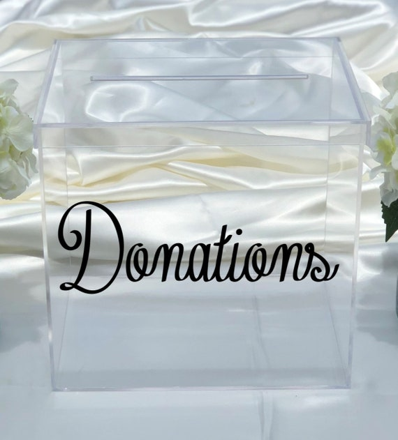 Clear Acrylic Donations Card Box -  Choose The Color - Church -  Club - Decor - Event - Nonprofit - Fundraising