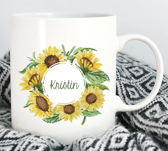 Personalized Sunflower Bouquet Mug ~ Choose the Size