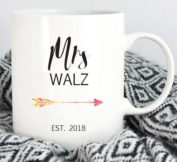 Personalized Mrs. Coffee Mug ~ Last Name and Year ~ Gift for Her ~ Gift for Bride ~ Anniversary Gift ~ Custom Coffee Mug ~ Tea Mug