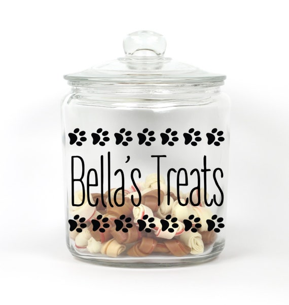 Personalized Pet Treat Jar ~ Choose Your Colors ~ Paw Prints ~ Pet Treat Storage ~ Pet Treat Jar ~ Dog Treat Jar ~ Cat Treat Jar