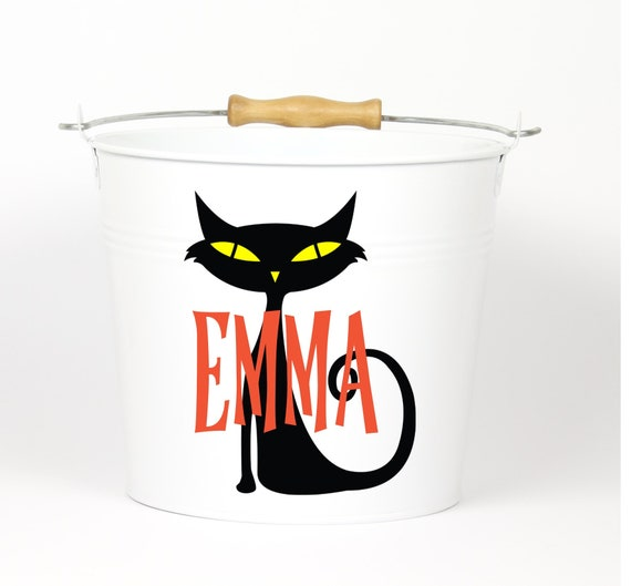 Personalized Halloween Black Cat Name Pail