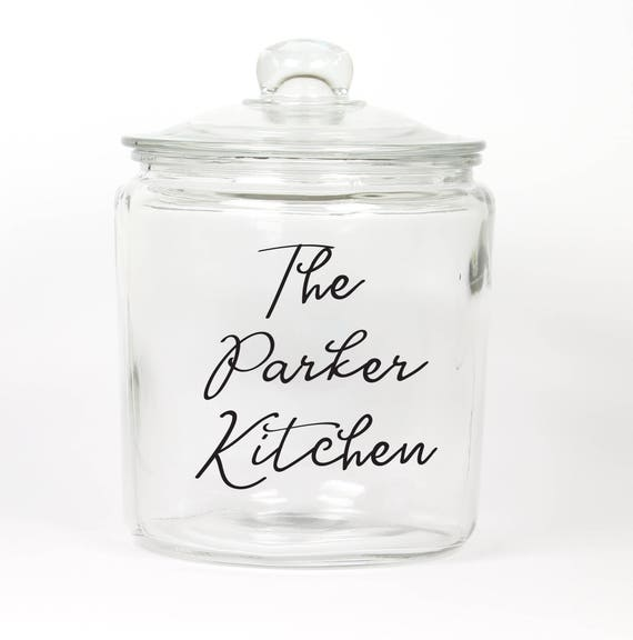 Personalized Last Name Cookie Jar ~ Candy Jar ~ Choose your Colors ~ Glass Cookie Jar ~ Gift for Couple ~ Anniversary ~ Housewarming Gift