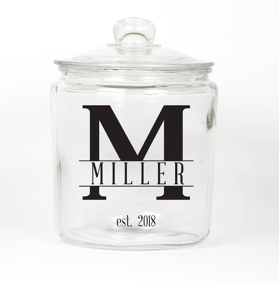 Personalized Last Name Cookie Jar ~ Monogram ~ Initial and Last Name Cookie Jar ~ Candy Jar ~ Choose your Colors ~ Glass Cookie Jar