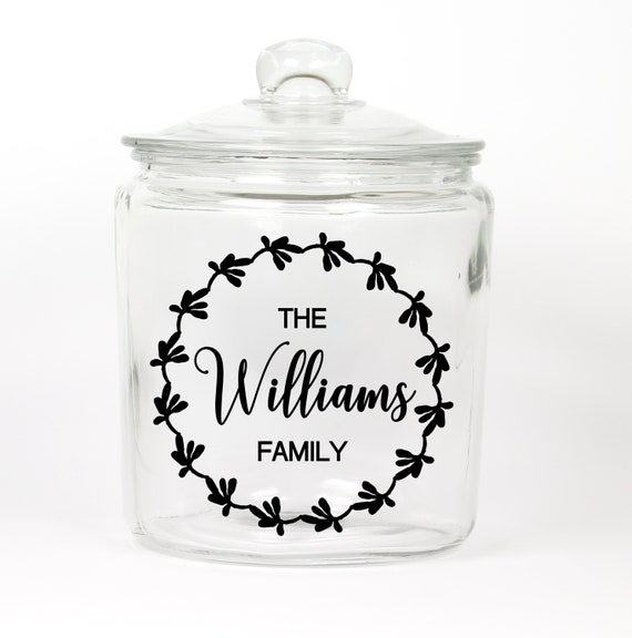 Personalized Last Name Cookie Jar ~ Made in USA ~ Glass