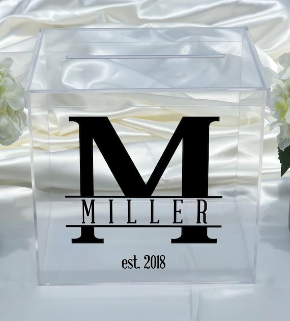 Personalized Clear Acrylic Card Box - Great for Weddings - Bridal Shower - Anniversary - Choose The Color