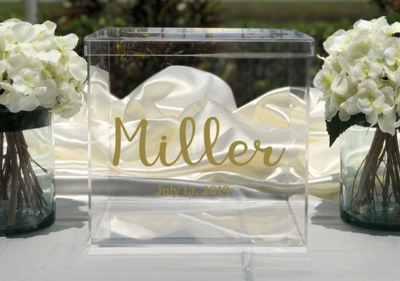 Personalized Wedding Clear Acrylic Card Box - Date - Choose The Color - Engagement Party - Bridal Shower - Anniversary - Decor
