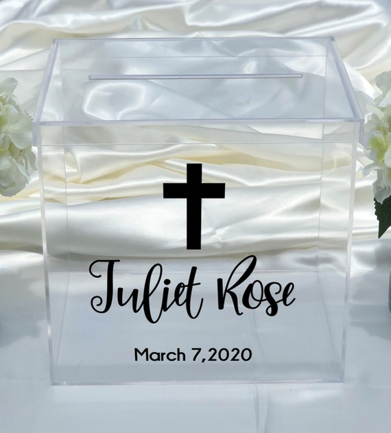 Personalized Baptism Clear Acrylic Card Box ~ Christening Card Box ~ First Communion Card Box ~ Confirmation Card Box ~ Large Card Box