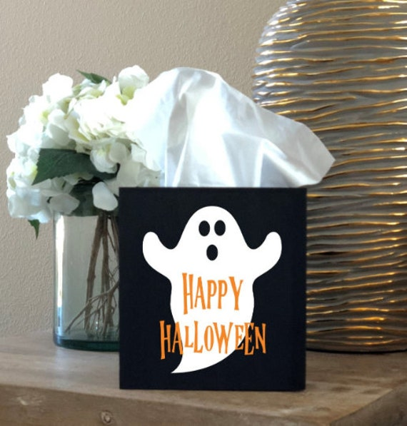 Ghost Happy Halloween Tissue Box Cover ~ Home Decor ~ Choose Your Colors ~ Home Decor ~ Halloween Decor