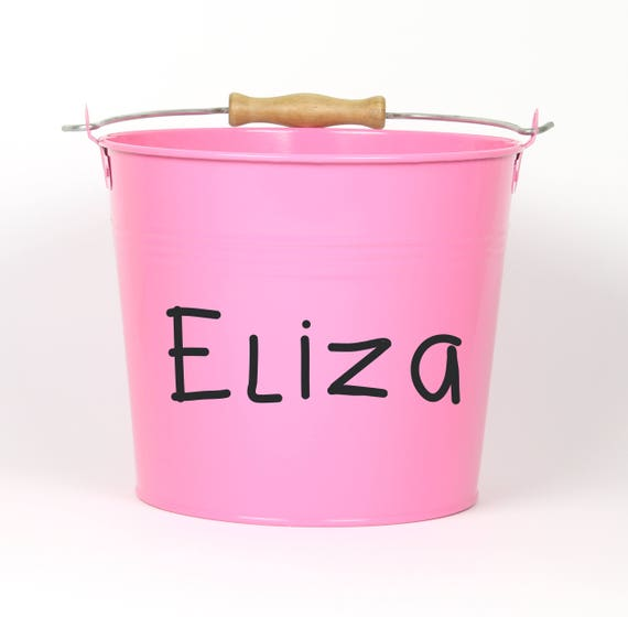 Personalized Name Pail - Choose The Color - Metal Pail Bucket Basket for Girls and Boys