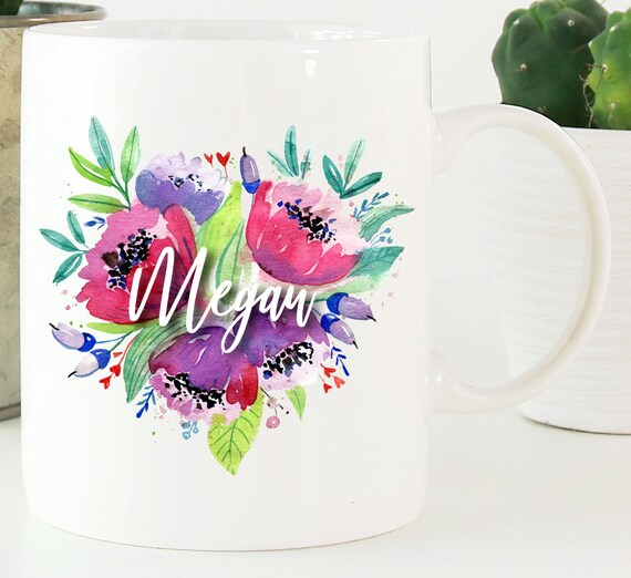 Personalized Flower Bouquet Mug  ~ Custom Name Mug ~ Floral Mug ~ Bridesmaid Gift ~ Christmas Gift ~ Birthday Gift ~ Personalized Name