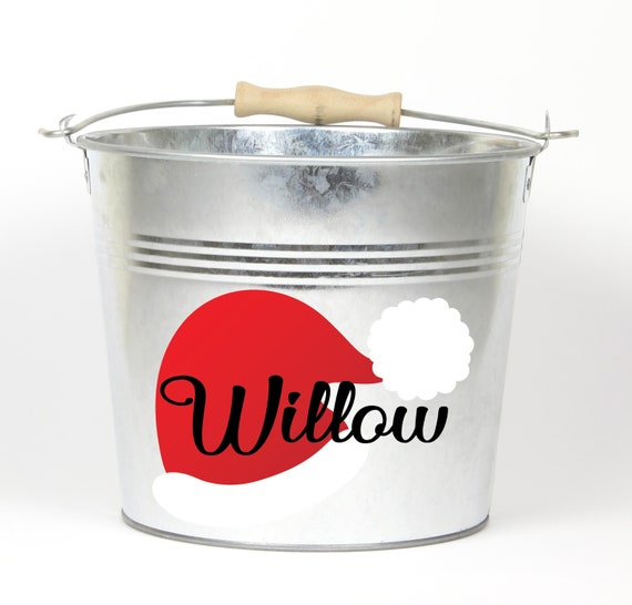 Personalized Santa Hat Name Pail ~ Christmas Bucket ~ Choose The Color ~ Metal Container Basket Bag for Girls Boys ~ Holiday Pail ~ Custom