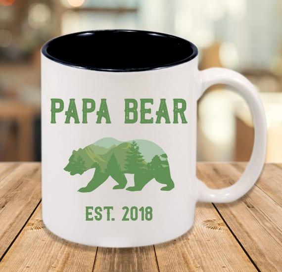 Papa Bear Mug - Custom Name and Year - Gift for Dad - New Dad Mug