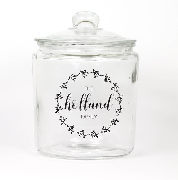 Personalized Last Name Cookie Jar ~ Wreath ~ Custom Last Name Cookie Jar ~ Candy Jar ~ Choose your Colors ~ Glass Cookie Jar